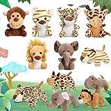 12 Pieces Mini Stuffed Forest Animals Jungle Animal Plush Toys in 4.8 Inch Cute Plush Elephant Lion Giraffe Tiger Plush for Animal Themed Parties Teacher Student Achievement Award (Sitting, Lying)