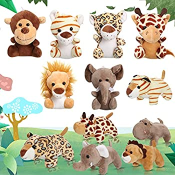 12 Pieces Mini Stuffed Forest Animals Jungle Animal Plush Toys in 4.8 Inch Cute Plush Elephant Lion Giraffe Tiger Plush for Animal Themed Parties Teacher Student Achievement Award  Sitting Lying