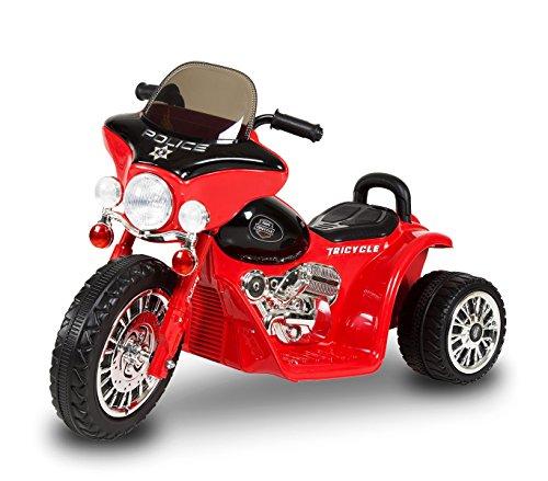 MEDIA WAVE store Moto elettrica Rossa LT846 per Bambini Police Tre Ruote 6V Suoni e luci realistici