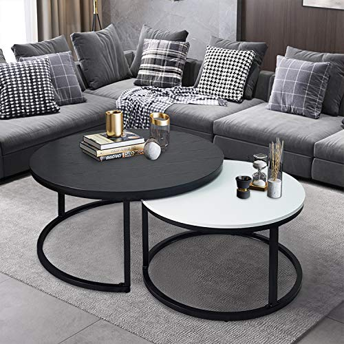 Round Coffee Tables,2 Round Nesting Table Set Circle Coffee Table with Storage Open Shelf for Living Room Modern Minimalist Style Furniture Side End Table of Stable(Black & White)