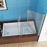 MIQU 110 x 140 cm Badewannen 2 TLG. Faltwand Aufsatz 180° Duschwand Duschabtrennung 6mm Nano Glas...
