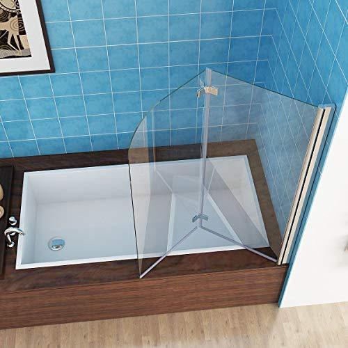 MIQU 110 x 140 cm Badewannen 2 TLG. Faltwand Aufsatz 180° Duschwand Duschabtrennung 6mm Nano Glas DAY