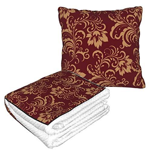 Manta de almohada de terciopelo suave 2 en 1 con bolsa suave, funda de almohada de remolino de color dorado granate para casa, avión, coche, viajes, películas