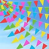 Wimpelkette, Mehrfarbig Wimpel mit 150 Stück Dreieck Flaggen,100M Bunte Wimpelkette für Geburtstag, Hochzeit, Outdoor, Indoor Aktivität, Party Dekoration
