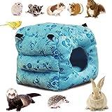 LeerKing Hamac pour Petits Animaux Lit Suspendu pour Hamster en Polaire avec Chaîne pour Cage pour Rat, écureuil, Hérisson, Chinchilla, Perroquet Jouant et Dormant, Bleu M