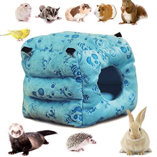 LeerKing Hamaca para Vellón de Animales Pequeños Nido de Hámster Esponjoso Colgante Cama para Jaula de Mascotas Columpio con Cadena de Metal para Rata, Ardilla, Erizo, Chinchilla, Loro, Azul XL