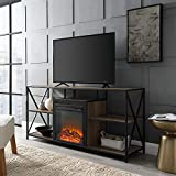 Walker Edison 60 inch X Frame Open Shelf Fireplace in Rustic Oak