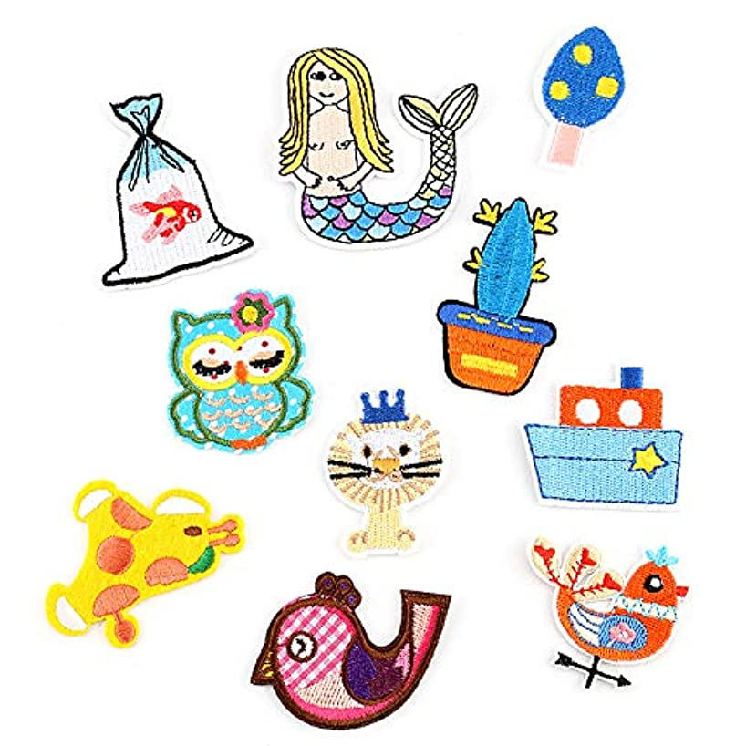 Iron On Patches, Embroidered Patches with Iron, Cute Funny 10 Pcs Embroidery Applique DIY Accessories Motif Applique Kit Sew On Patches for Children Child Jackets, Jeans, Clothing, Backpacks