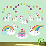 decalmile Sticker Muraux Licorne Autocollant Mural Château de Princesse Arc-en-Ciel Chambre Enfants Bébé Fille Décoration Murale