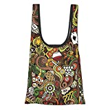 Casino Decorations Doodles Style Art Bingo Excitement Checkers King Tambourine Vegas Reusable Fold Eco-Friendly Shopping Bags