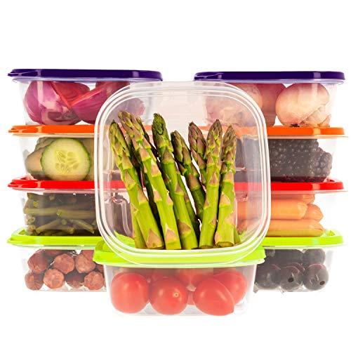 Frischhaltedose Set aus BPA-freiem Plastik, Aufbewahrungsbox mit farbigen Deckeln, Brotdose, Gefrierschrank Organizer, Lunchbox, Oursson Küchen Organizer (10x400 ml, Mehrfarbig)