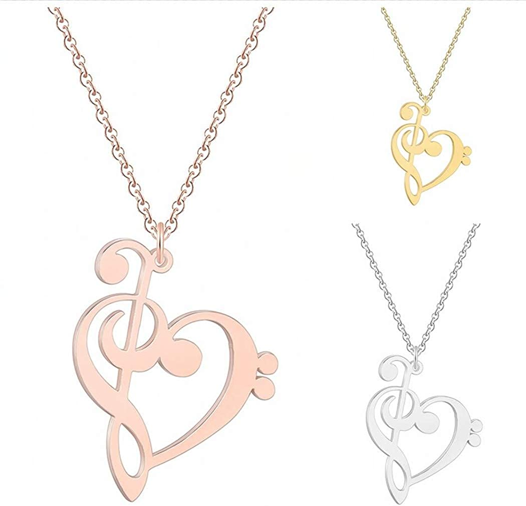 QIAMNI Music Note Heart of Treble and Bass Clef Necklace Infinity Love Heart Pendant Necklace Collars Birthday Gift