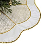Valery Madelyn 48 inch Elegant White Gold Peacock Christmas Tree Skirt Decorations with Sequins Trim, Themed with Christmas Tree Decor (Not Included)