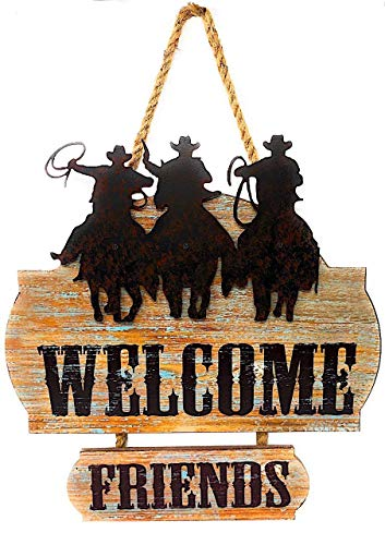 Mayrich Welcome Friends Country Western Cowboy Sign Wreath MDF Wood W Tin Metal Home Business Plaque Wall Front Door Room Decor 16.5