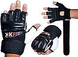 KIKFIT Saco de boxeo de cuero Guantes de boxeo Guantes de karate MMA Body Combat Taekwondo Entrenamiento Arte Marcial Lucha Grappling Muay Thai Negro (XL)
