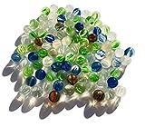 FAIRY TAIL & GLITZER FEE 95 biglie di vetro colorate occhi di gatto 16 mm pietre di vetro per riempire vasi, biglie blu glitterate, ciotole decorative, gioco di carte