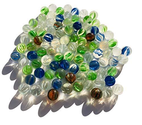 FAIRY TAIL & GLITZER FEE 95 Stück Bunte Glasmurmeln Katzenaugen Murmeln 16mm Glas-Steine Murmel Vasen-Füllungen Blaue Murmeln Glitzersteine Dekoschalen Murmelspiel Glas
