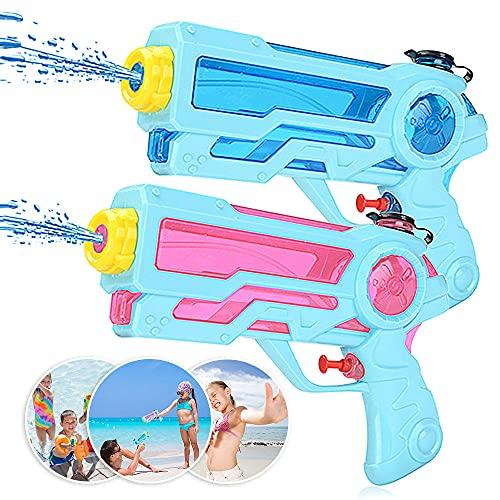 Zaloife Wasserpistole Spielzeug für Kinder, Spritzpistole Wasser 350ml, Water Gun, Wasserpistolen Set, Party Mitgebsel Strand Pool Badespielzeug Strandspielzeug 2 Stück (Blau, Rosa)
