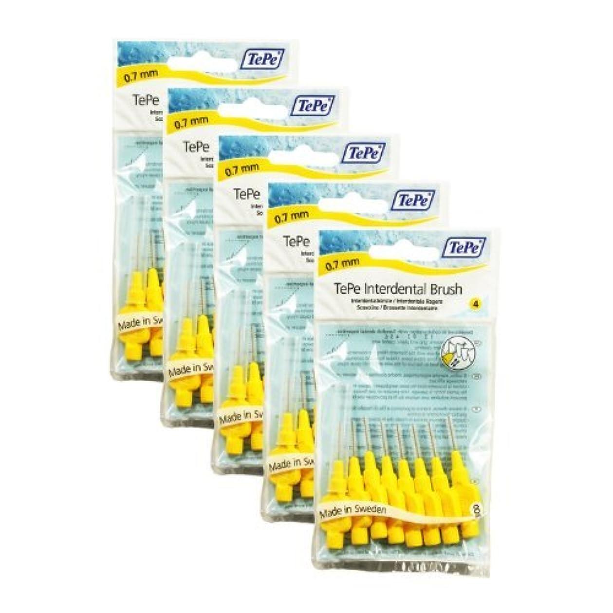クーポン支店日付付きTePe Interdental Brushes YELLOW 0.70 mm - 40 Brushes (5 Packs of 8) by TePe