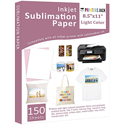 Sublimation Paper - 8.5 x 11 Inches, 150 Sheets for Any Inkjet Printer with Sublimation Ink, Heat Transfer Sublimation for T-shirt, Mugs, Light Fabric 110gsm