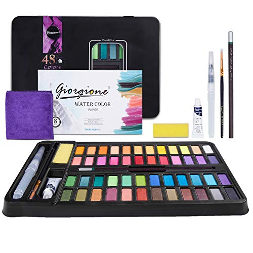 GYBOOM 48 Watercolor Paint Set, 48 Colors Solid Watercolor, Easy Mixed and Fast Dried, Portable Watercolor Painting Set for Beginners, Professional Artists and Kids Students Gift (48color)