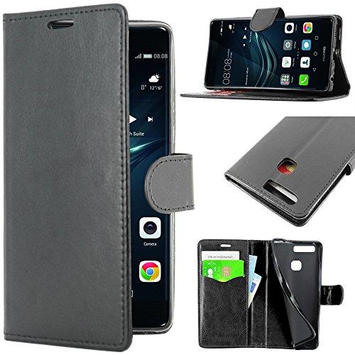 ebestStar - Funda Compatible con Huawei P9 Plus Carcasa Cartera Cuero PU, Funda Libro Billetera Ranuras Tarjeta, Función Soporte, Negro [Aparato: 152.3 x 75.3 x 7mm, 5.5'']