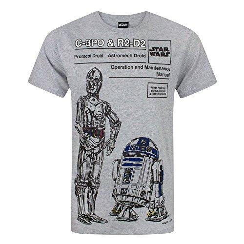 STAR WARS - T-Shirt C3PO et R2D2 - Homme (S) (Gris)