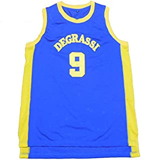 Moc.Bom Men's Degrassi #9 Retro Embroidered Blue Movie Basketball Jersey