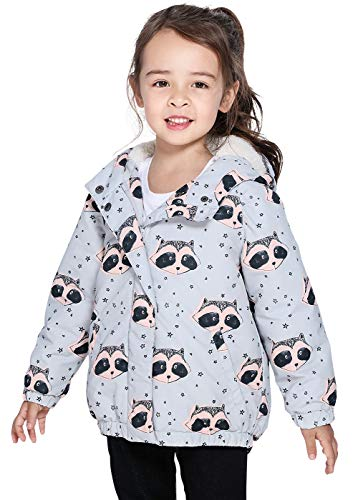 SOLOCOTE Girls Winter Sherpa Lined Coats Thick Kids Toddler Warm Hooded Puffer Jackets 170761-Grey-1-1.5T