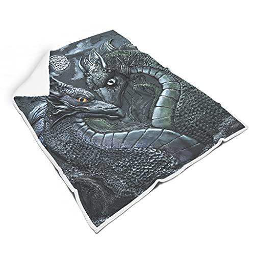 WOSITON dragon - Mantas cuadradas suaves para sofá cama microfibra para adultos estilo elegante blanco 60 x 80 pulgadas