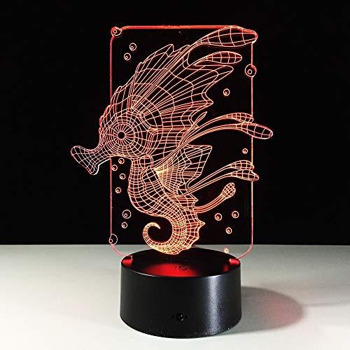 Nndxh Hippocampus Bubble 3D Acrílico Dibujos Animados Hippocampus Illusion Luz Led Mesa De Comedor Usb Luz Nocturna Luz De Decoración Romántica Luz De Navidad, Regalo Nuevo
