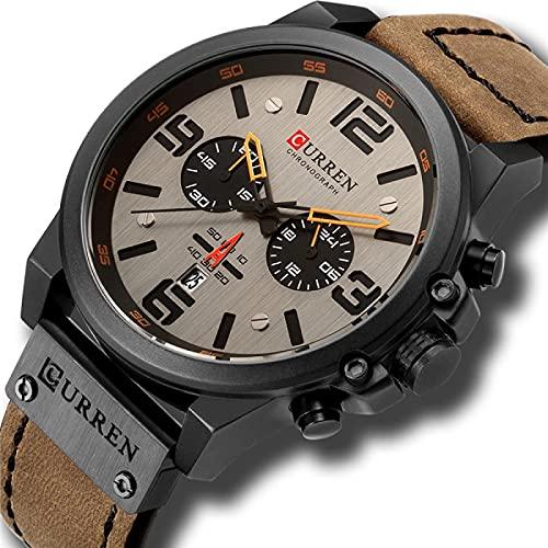 Legxaomi Reloj de los hombres, Top Luxury Brand Waterproof Sports Watch, Cronógrafo Cuarzo Militar Cuero Genuino Reloj 8314-blackbrown