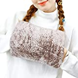 Heated Hot Water Bottle with Soft Fleece Cover, Toyuugo Warming Hand and Relieve Menstrual Cramps or Muscle Aches & Back Pains as Electric Heating pad for Winter Gift Rechargeable (Brown)