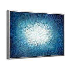 Blue Abstract Wall Art: With special design of abstract art blue and gradient navy blue colors, this textured abstract canvas art is perfectly presented on your wall for adding a eye-catcher or conversation topic for your visitors ( Multiple sizes av...