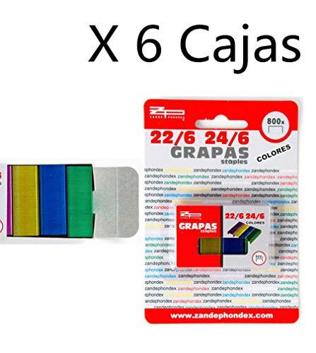 Zande Phondex Caja de Grapas de 24/6-22/6 Colores, Pack de 4800 Grapas