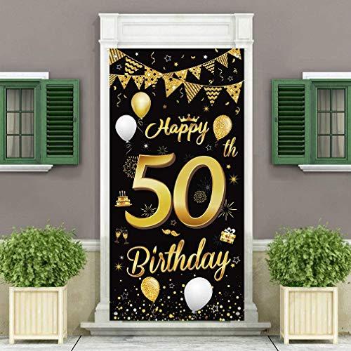 50. Geburtstag Dekoration Türabdeckung Banner, Großer Stoff Schwarz und Gold Glitter Zeichen Geburtstag Banner für 50 Geburtstagsfeier Dekorationen und Zubehör
