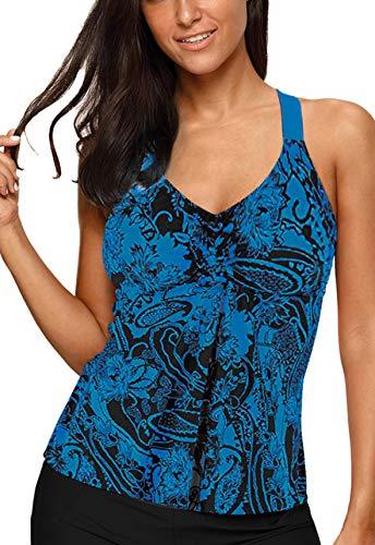 Aleumdr Womens Beach Athletic Printed Strappy Racerback Summer Padded Tankini Swim Top No Bottom X-Large 14 16 Blue