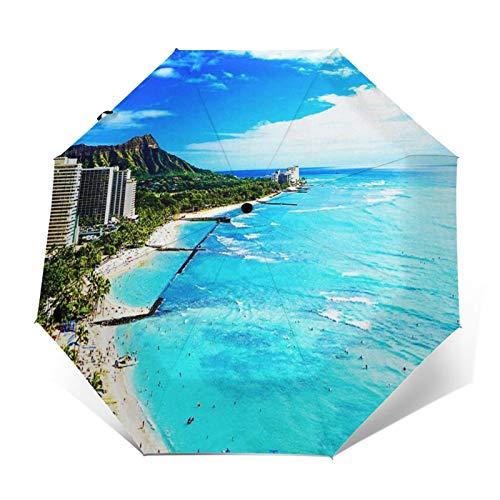 Paraguas Plegable Automático Impermeable Hotel Playa Diamante, Paraguas De Viaje Compacto a Prueba De Viento, Folding Umbrella, Dosel Reforzado, Mango Ergonómico