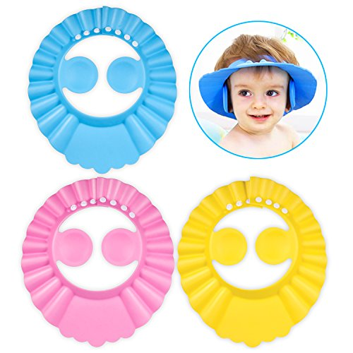 Chapeau Douche Bébé, PAMIYO 3 pcs Réglable Visière Bonnets de Bain Pour Enfants Protection des Yeux et Visage de Shampooing