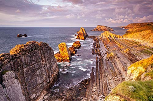 XUESONGSSD 5D Diamant Zeichen Kit Death Coast Galicia Spanien Möbel Dekoration Rahmenlos 30 * 40Cm