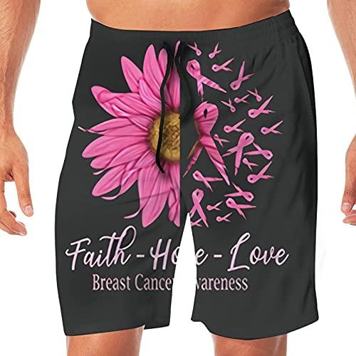 VJSDIUD Faith Love Hope Conciencia sobre el cáncer de Mama Pantalones con cordón de Secado rápido Surf en la Playa Pantalones Cortos de natación para Correr Pantalones de Playa