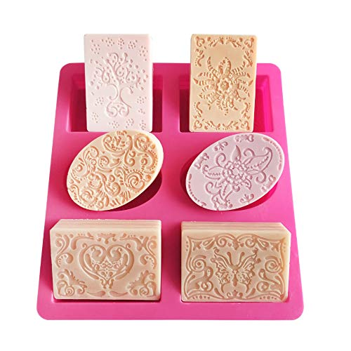 lmmak 6 Cativy 3D Square and oval Flowers Snowflake Silicone Mold for Baking Chocolate Candy Cake Cupcake Decoration Jelly Ice Cube Soap Gummy Crayons Lollipop Gum Paste Polymer Clay