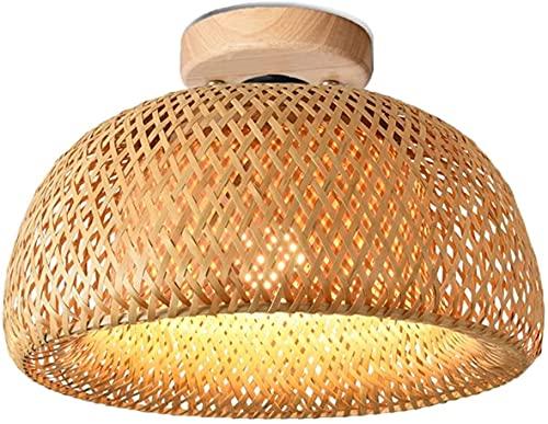 Lámpara de Techo de Bambú Madera Lámpara de Ratán Vintage Lámparas de Techo Decorativas Linterna de Bambú Redonda Tejida a Mano Lámpara de techo E27 Pasillo Restaurante Sala de Estar 30cm Luz de Bambú