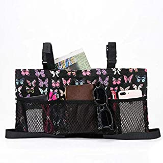 Fushida Wheelchair Storage Bag Walker Accessories Tote Bag Store Loose Items for Disabled Elderly, Large Capacity Organizer Pouch Fits Walkers, Rollators,Scooters,Wheelchairs (Butterfly, FGJ308)