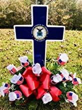 Solar Lighted Air Force Cross by Eternal Light   Veteran Cemetery Graveside Decoration Heartfelt Gift