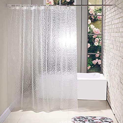 Duschvorhang 3D Wasserwürfel, PEVA Wasserdicht, Halb-transparent Klar, Anti Schimmel, PVC-frei Umweltfre&lich Waschbar, 180 X 180cm/180x200cm Mit 12 Ringe, Bad Vorhang Für Badezimmer Badewanne
