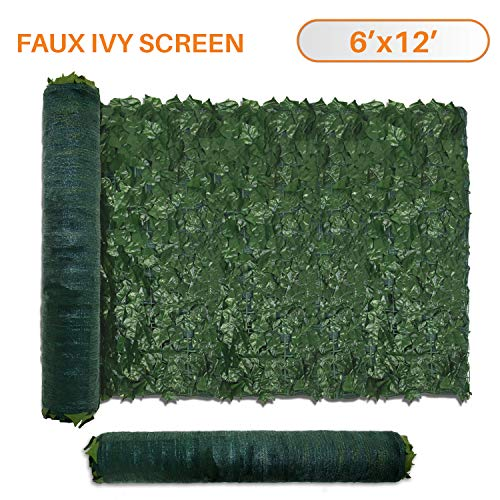 TANG Sunshades Depot 6' FT x 12' FT Artificial Faux Ivy Privacy Fence Screen Leaf Vine Decoration Panel with 130 GSM Mesh Back