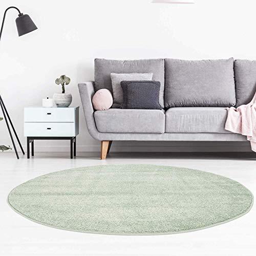 carpet city Teppich Rund Einfarbig Uni Flachfor Soft & Shiny in Grün für Wohnzimmer; Größe: 120x120 cm rund