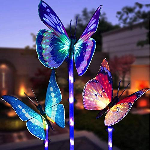 XVZ Outdoor Solar Garden Lights, 3 Pack Solar Butterfly Decorative Lights,IP65 Waterproof Fiber Optic Decorative Butterfly Color Changing Landscape Light for Outdoor Path,Yard,Lawn,Christmas