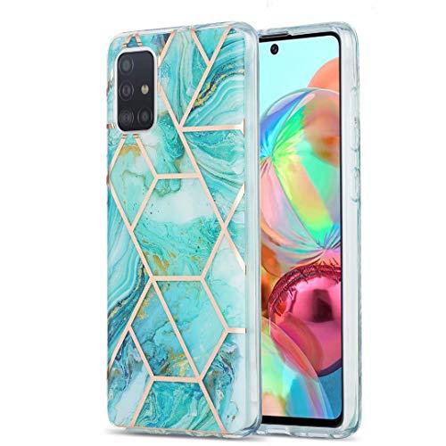 Schutzhülle für Xiaomi Redmi Note 9 / Xiaomi Redmi 10X 4G, ultradünn, glitzernd, Marmor-Stein-Muster, glänzend, Hybrid-Hülle, dünne weiche Rückseite, TPU-Gummi-Gel-Schutzhülle, stoßfest, Blau